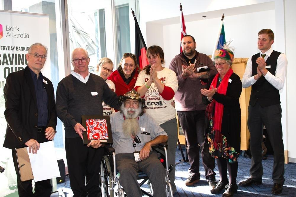 Members of Wathaurong Aboriginal Co-operative and Geelong One Fire Reconciliation Group being presented with their award. Photo courtesy of Barbara Oehring