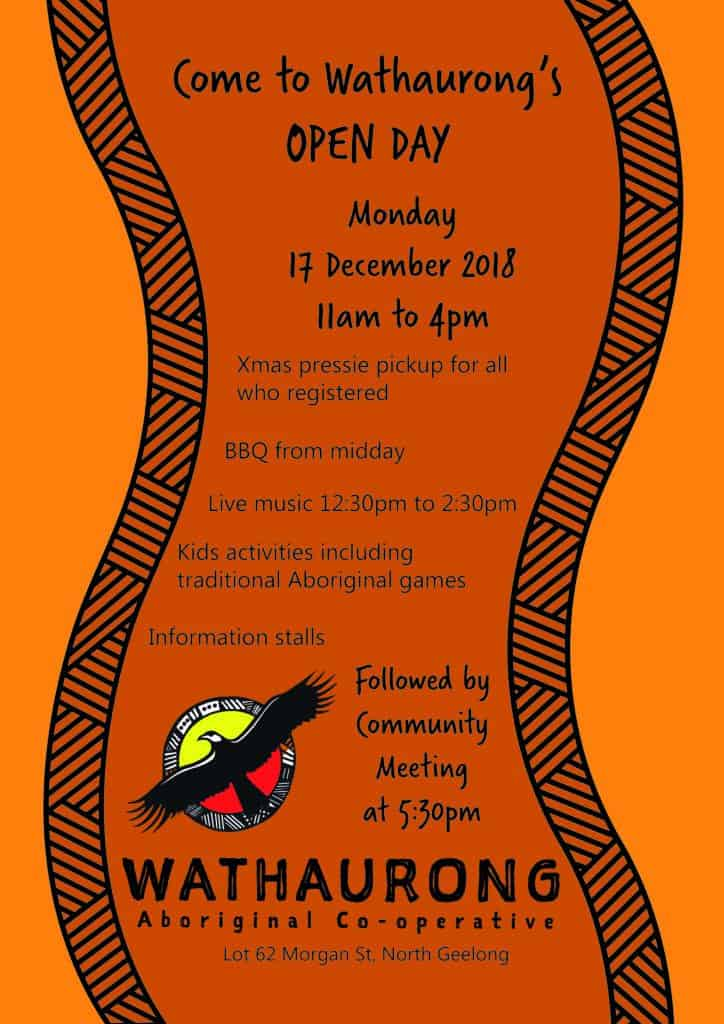 Open Day @ Wathaurong Aboriginal Co-op, 62 Morgan St, North Geelong