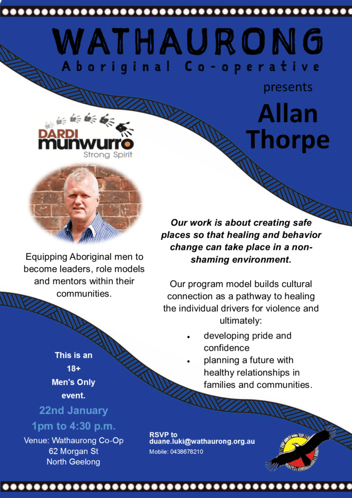 Men's Afternoon with Allan Thorpe @ Wathaurong Co-op,