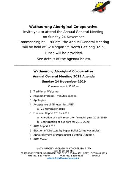 Annual General Meeting @ Wathaurong Aboriginal Co-operative