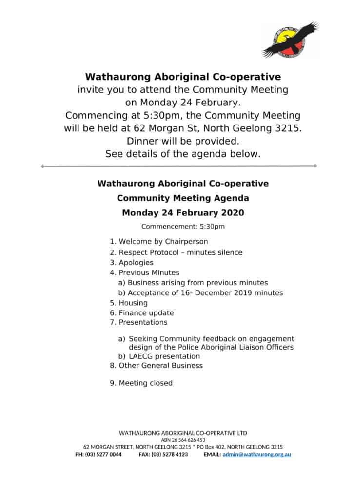Community Meeting @ Wathaurong Aboriginal Co-operative